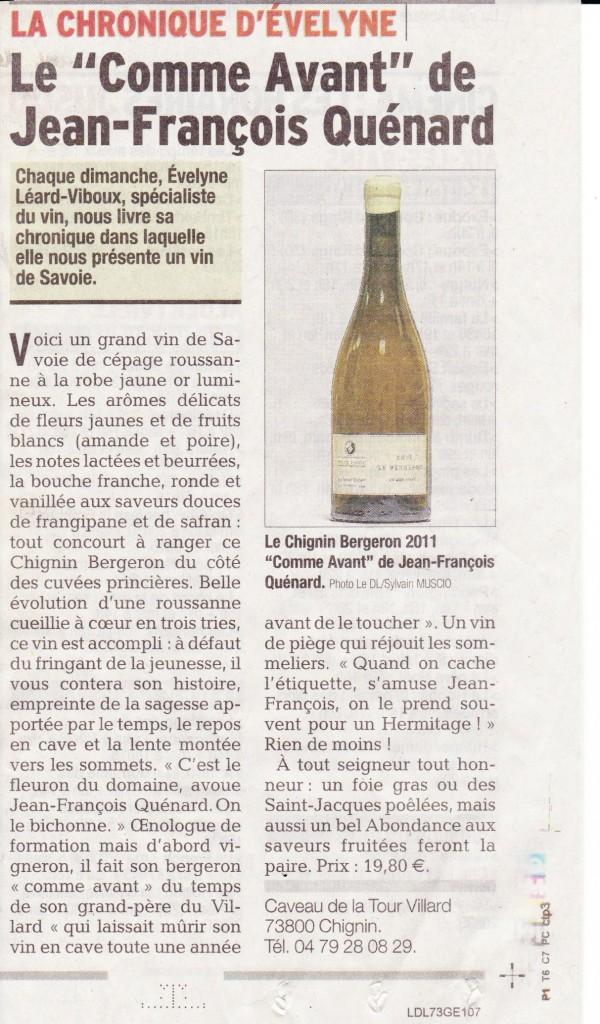 Article du Dauphiné , dimanche 28 Décembre 2014. 001